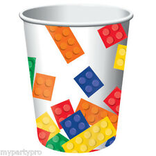 Lego inspired, Building Blocks PAPER DRINK CUPS Birthday party supplies