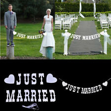 """JUST MARRIED"" Wedding Banner Party Decoration Bunting Garland Photo Booth Prop"