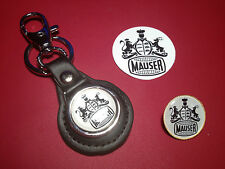 MAUSER FIREARMS /  GUNS:  LEATHER KEY RING, BADGE &  FREE  MAUSER STICKER