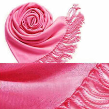 20 Colors Women Lady Cashmere Silk Solid Long Pashmina Shawl Wrap Scarf Stole UK