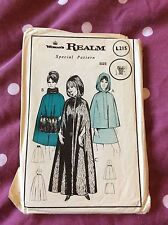 UNCUT Vintage 70's Woman's Realm Winter Wool Cape Pattern Mid and Maxi Length