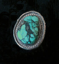 Vintage Native American CHUNKY Turquoise RING Incredible STERLING SILVER Signed