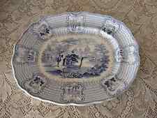 Antique Staffordshire Adams England Blue Transferware Bologna Platter 1800 1849