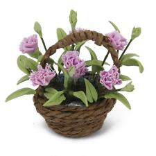 12th Miniature Clay Carnation Flower Plant & Basket Dollhouse Garden Accessories
