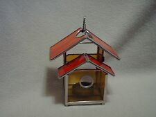 Amber & Red Stained Glass Bird House Candle Lantern