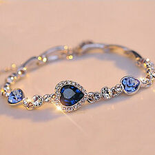 Cute Fashion Women Blue Crystal Rhinestone Heart Charm Bangle Bracelet Gift New