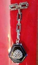 Ladies Vintage Bucherer Sterling &  Enamel Art Deco Marcasite Pendant Watch.