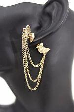 New Women Double Sided Heart Wings Love Earrings Silver Gold Metal Fashion Chain