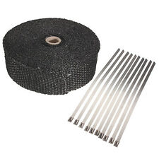 Fiberglass Exhaust Wrap Header Turbo Pipe High Heat Insulating Tape Black Car