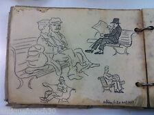 Ancien carnet de peintre, Porte-folio dessin, peinture années 30, signé