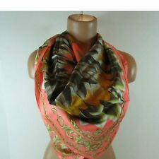 Echo Design feather pow wow  multi colored 100% silk scarf about 34 x 34 square