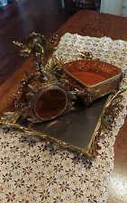 Vintage Ormolu Perfume, Jewelry Casket, Vanity Tray Set, Amber Glass