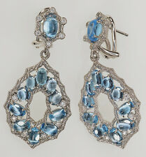 Judith Ripka Blue Topaz Sterling Silver Dangle Earrings