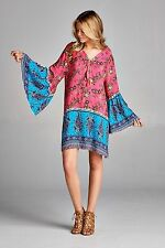 PLUS SIZE VELZERA GYPSY BLUE PINK BOHO BELL SLEEVE SHIRT TUNIC TOP DRESS 2X XXL