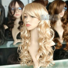Golden Long Curly Wig Sexy Women's Cosplay Blonde Hair Wigs Christmas Party