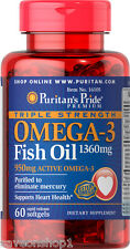 Fish Oil Omega-3 Triple Strength 1360mg 60 softgels | Puritan's Pride