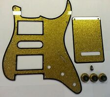 HSH Pickguard,Back Plate, Knobs & Switch Tip. Gold/Black.Fits Fender Strat.  JAT
