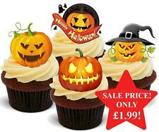 12 NOVELTY HALLOWEEN STAND UPS Scary Pumpkin Mix Edible Cake Toppers Spooky Fun