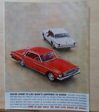 1961 magazine ad for Dodge - red 1962 Dart 440 & white Lancer GT, Lean Breed