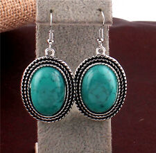 Vintage Chic fashion Jewelry Turquoise Tibet Silver Dangle Earrings Hook Charm