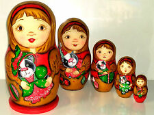 "7 1/2"" 5pcs NESTING WOODEN DOLL CAT FAMILY MATRYOSHKA MATRESHKA BABUSHKA"