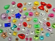 500 Assorted Flatback Acrylic Rhinestone Gems Rivoli Center Mixed Color