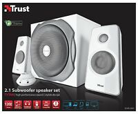 TRUST 18790 TYTAN 60W RMS 120W PMPO WHITE POWERFUL & SMART 2.1 SPEAKER SET