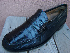 FLORSHEIM Mens Dress Shoes Black Casual Comfort Alligator Loafers Sz Size 10.5D