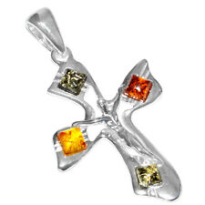 3.0g Cross Authentic Baltic Amber 925 Sterling Silver Pendant Jewelry A640