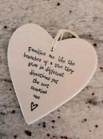 East Of India White Hanging Porcelain Heart Families Like Branches of Tree Gift