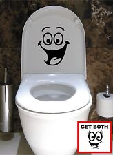2 x SMILEY FACE TOILET WALL STICKER DECAL ART MURAL FUNNY BATHROOM VINYL ANY