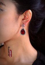 Boucles d`Oreilles Clous Ethnic Argenté Goutte Rouge Vintage Ancien Style