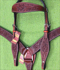 HILASON WESTERN LEATHER HORSE BRIDLE HEADSTALL BREAST COLLAR SET MAHOGANY