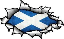 Oval Ripped Open Torn Metal To Reveal Scottish Saltire Scotland Flag car sticker