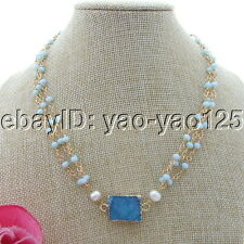 "S092308 18""3 Strands White Pearl Blue Crystal Chain Necklace Agate Druzy Pendant"