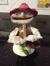"""Seashell Art Figure Of A Fisherman With Creel And Pole And Fish 5.5"""" Talll"""