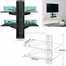 Floating Shelves 2 Tier Glass Wall Mounted TV Sky Box DVD Game Console Shelf