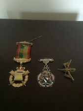 TWO SOLID SILVER  & ENAMEL MASONIC MEDALS AND ONE OTHER CAVALRY BADGE