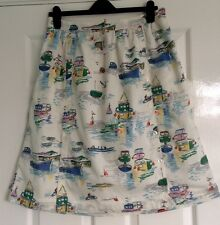 CATH KIDSTON SEA VIEW BOATS SEAGULLS CROSSHATCH COTTON SKIRT - SIZE 14 - BNWT!