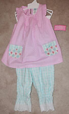 Peaches 'N Cream Rosey Posey Pink Polka dot Top Blue Pants Outfit Set NWT size 5
