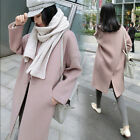 fashion women's solid pink wool blend collared long coat trench overcoat sz B912