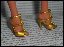 SHOES BARBIE LOUBOUTIN MODEL MUSE DOLL GOLD STRAPPY RED BOTTOM HIGH HEEL SANDALS