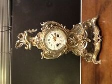 Japy Freres Antique Lacqured Brass French Rococo 8 day Mantel/ Table Clock