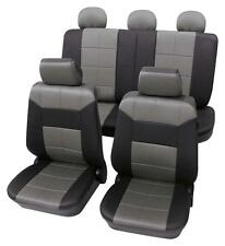 Grey & Black Leather Look Seat Cover set - For BMW 5-Series E34 1988-1997