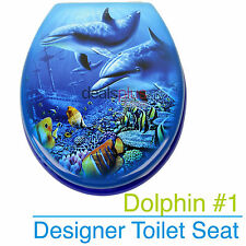 DOLPHIN #1 Designer Toilet Seat and Cover Poly Resin Finish Brand New