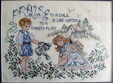 Framed Cross Stitch Praise to a Child is like Water to a Thirsty Plant