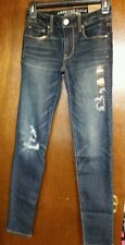 JUNIOR WOMEN SIZE 00 R AMERICAN EAGLE SUPER STRETCH SKINNY JEANS DESTROYED NWT