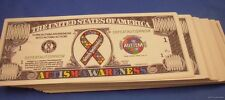 WHOLESALE LOT OF 100  AUTISM AWARENESS USA MILLION DOLLAR  MONEY BILLS US U.S.