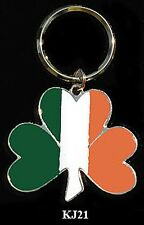 BRASS & ENAMEL KEY RINGS - IRELAND LARGE SHAMROCK Key Ring