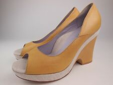TARYN ROSE Mustard Yellow Leather Open Toe Wedge Shoes Sz 11